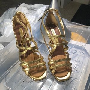 Gold leather BCBG heels